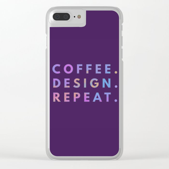 Coffee Design Repeat Clear iPhone Case