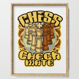 Chess Checkmate Strategy Board Game Chessboard Pieces Rules Play Gift Serving Tray