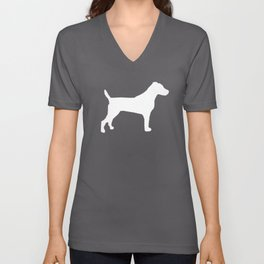 Jack Russell Terrier gray and white minimal dog pattern dog silhouette Unisex V-Neck