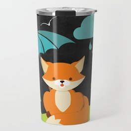 Fox on  Black Chalkboard , Nursery decor Travel Mug