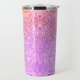 mandala on pink texture Travel Mug