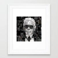 karl lagerfeld Framed Art Prints featuring Karl Lagerfeld by Artstiles