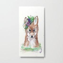 Floral Fox.  Metal Print