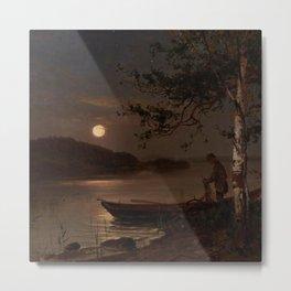 Shore of the Lake at Full Moon landscape painting by Magnus Munsterhjelm Metal Print