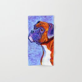 Colorful Brindle Boxer Dog Hand & Bath Towel