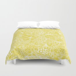 Modern trendy white floral lace hand drawn pattern on meadowlark yellow Duvet Cover