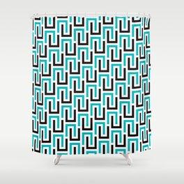 Geometric Pattern #194 (turquoise stripes) Shower Curtain