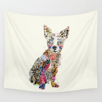 yetiland Wall Tapestries featuring the mod chihuahua by bri.buckley