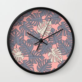 Monstera Peach Pattern Wall Clock