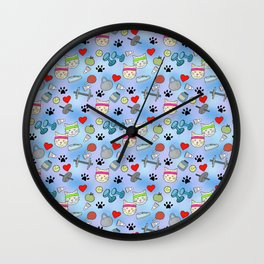 Cat Fitness Repeating Pattern Wall Clock