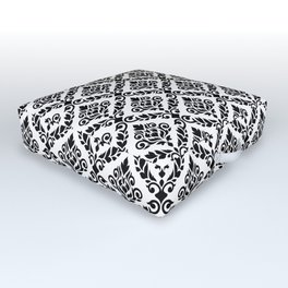 Prima Damask Pattern Black on White Outdoor Floor Cushion