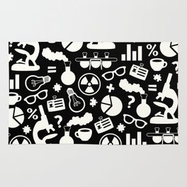 Black and White Science Pattern Rug