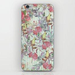 Vintage green yellow pink grunge stripes bird floral iPhone Skin