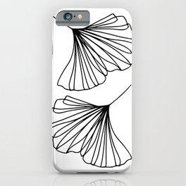 Ginkgo Leaves Minimal Line Art iPhone Case