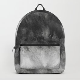 Gray White Feather Brush Abstract Backpack