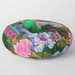 PINK ROSES & GREEN PEACOCK GARDEN FLORAL ART Floor Pillow