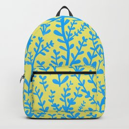 Yellow and Blue Floral Leaves Gouache Pattern Backpack