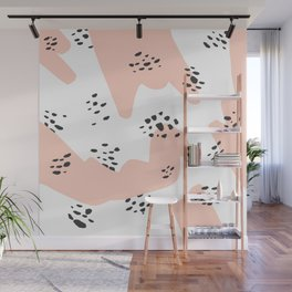 Modern blush pink abstract color block black polka dots illustration pattern Wall Mural