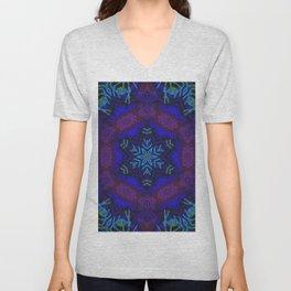 Bioluminescent Tribal Lotus Unisex V-Neck
