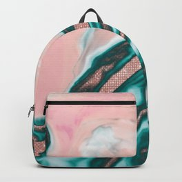 Rose Gold Glitter Pink Teal Swirly Painted Marble Backpack