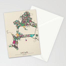 Colorful City Maps: Darwin, Australia Stationery Cards