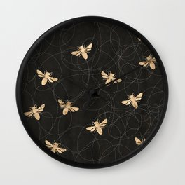 Busy Bees (Black) Wall Clock