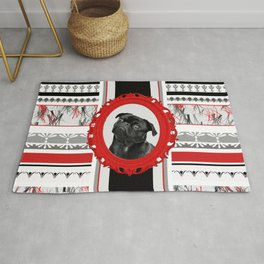 Black pug red Frame black and white pattern stripes Rug