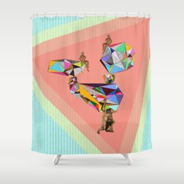 Behind every great man there are women to keep him balanced Shower Curtain