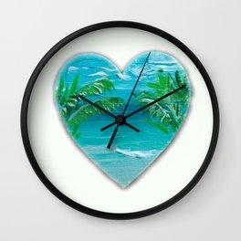 Florida, beach with palms~Ocean Love Wall Clock