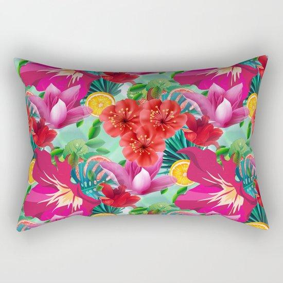 Tropical Summer Flower And Fruit Pattern Rectangular Pillow