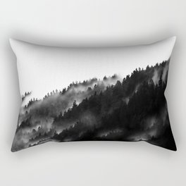 Black and White Fog Forrest Rectangular Pillow