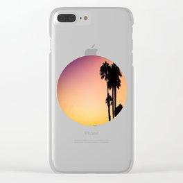 Palm Tree Silhouette & Orange Purple Sunset Clear iPhone Case