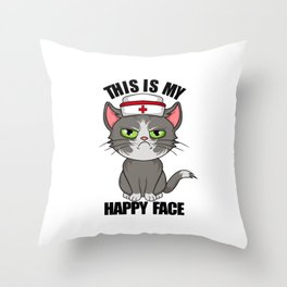 this is my happy face vintage nurse 2020 Throw Pillow