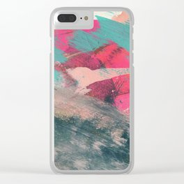Sugar Rush [3]: a colorful, abstract mixed media piece in pinks, blues, and gold Clear iPhone Case