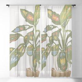Scandinavian Plant Sheer Curtain
