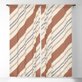 Cavern Clay SW 7701 and Accent Colors Thick and Thin Angled Lines Triple Stripes 1 Blackout Curtain