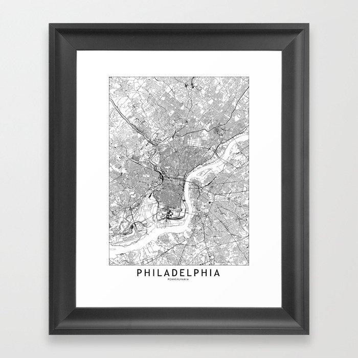 Philadelphia White Map Gerahmter Kunstdruck