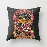 panther Throw Pillows featuring Panther by MIRKOW GASTOW