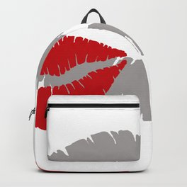 Valentine Mouth with two red kisses Backpack