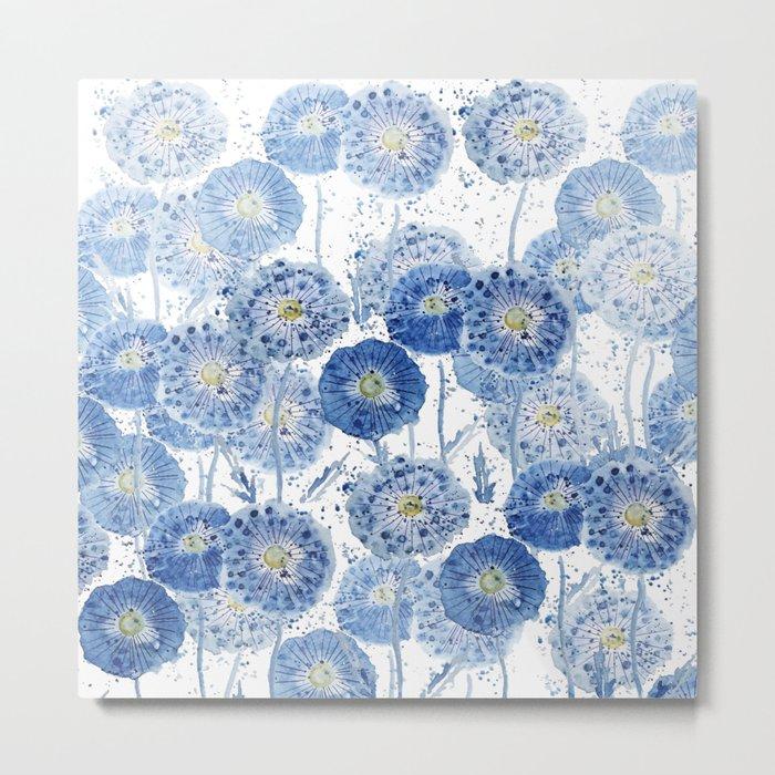 blue indigo dandelion pattern watercolor Metal Print