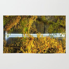 Waterfall Golden Autumn Leaves Rug