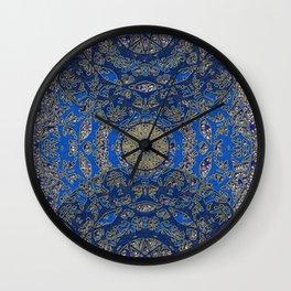 Blue Gold Lacy Mandalas Wall Clock