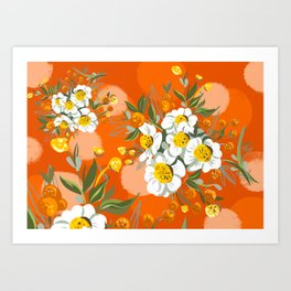 Orange Poppy Flowers Chinoiserie Art Print