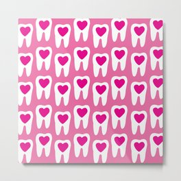 Teeth pattern with hearts in the center on pink background Metal Print