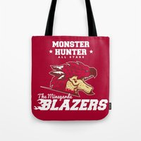 monster hunter Tote Bags featuring Monster Hunter All Stars - The Minegarde Blazers by Bleached ink
