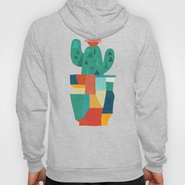 Blooming cactus in cracked pot Hoody