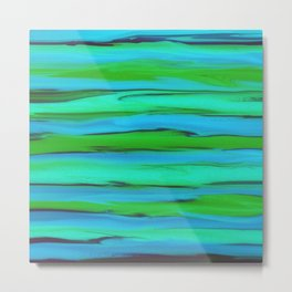 Apple Green, Seafoam, and Azure Blue Stripes Abstract Metal Print