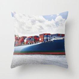 A massive container ship plies the Savannah River in Savannah Georgia Throw Pillow