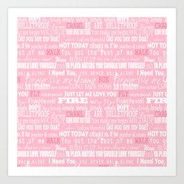 lyrics pink Art Print