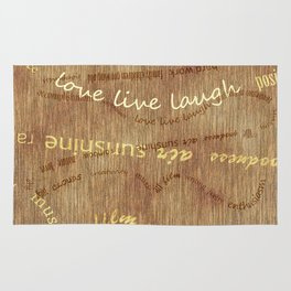 Positive Words to Live By Text Design Rug